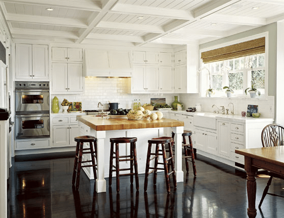 dark hardwood white kitchen